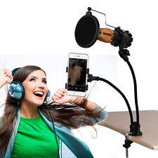 Universal Cellphone & Microphone Mic Stand Mount Holder For Karaoke MV Recording