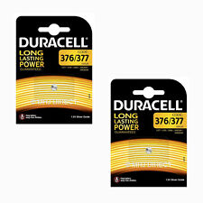 2 x Genuine Duracell 377 SR626SW AG4 SR66 D377 Watch Batteries Silver Oxide