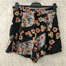 Topshop Floral Black Blue Spotty High Waisted Shorts With Pockets Size 10