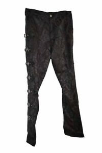 Dark Star Trousers Mens Brocade Black Size 32. Gothic PVC Buckles On The Sides