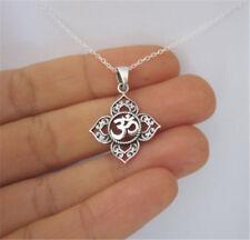 Silver Lotus Flower Ohm Om Charm Pendant Hindu Yoga Buddha Necklace Jewelry Gift