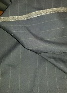120'S Italian Cashmere Wool Suit Fabric Blue with Pin Stripe 2.6 Yards MSRP 1490