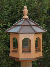 Vinyl Gazebo Bird Feeder Amish Homemade Handmade Handcrafted Cedar & Brown med
