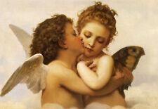 """BOUGUEREAU :: FIRST KISS ANGELS CHERUBS SERAPHIM ANGEL :: 24"""" CANVAS ART PRINT"""
