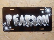 Airbrush License Plate Car Tag Gray Black Add Your Name Block Letters Silver