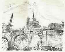 John Jack vrieslander le quai de la TOURNELLE A PARIS-Lithographie de 1910