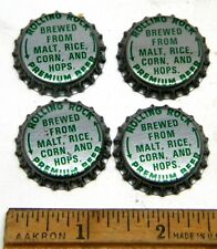 New Listing4 Unused Metal Bottle Caps Rolling Rock Premium Beer Latrobe Brewing Green Cap A