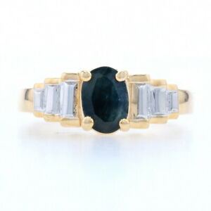 Sterling Silver Sapphire Solitaire Ring - 925 Gold Plated Oval Cut 1.00ct Size 6