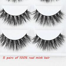 5 Pairs 100% Mink Natural Thick False Fake Eyelashes Eye Lashes Makeup Extension