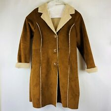 Old Navy Faux Shearling Duster Coat Women's Size XL Brown