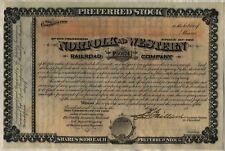 Norfolk & Western Railway Stock Certificate Railroad Southern Unissued 18__