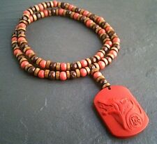 """Carved Red Cinnabar Wolf Pendant 24"""" Necklace, Wooden Jewelry, Surfer Style"""