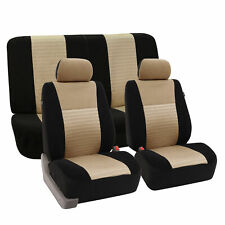 Mesh Car Seat Covers Front Rear Full Set For Auto Car SUV Van Beige Black