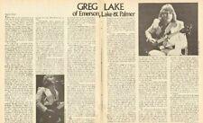 1974 Greg Lake of Emerson, Lake & Palmer - 3-Page Vintage Article