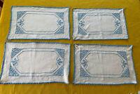 Set Lot 4 Vintage White Blue Linen Embroidery Placemats, 16 x 10, Excellent