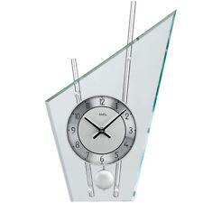 NEU AMS Designer Pendeluhr silber Glas Büro Business Schreibtisch Kamin Uhr