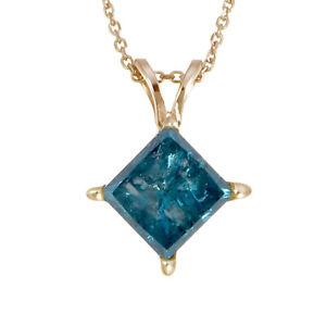 1 cttw Princess Cut Blue Diamond Solitaire Pendant Necklace 14K Yellow Gold