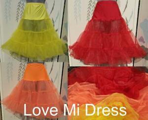 4 x 50's Style Petticoat Underskirt Red, Yellow, Orange & Ivory 8, 10, 12, 14
