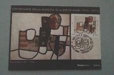 Italia Cartolina timbro primo giorno centenario Alberto Burri 12/03/2015
