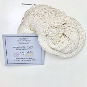 Silk &Ivory silk wool sparkl blend yarn thread Stardust White 1/2 hank 300 yards