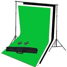 Studio FOTOGRAFICO SFONDO supporto e BIANCO NERO VERDE SCHERMO STATIVO Kit Set