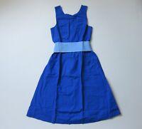 NWT J.Crew A-line Sash Tie Brilliant Sapphire Blue Belted Cotton Dress 14 $110