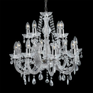 Searchlight 12 Lights Chrome Crystal Traditional Ceiling Fitting Chandelier New