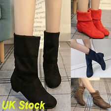 New Women's Flat Low Heel Boots Ladies Classic Ankle Shoes Stretch Suede UK Size