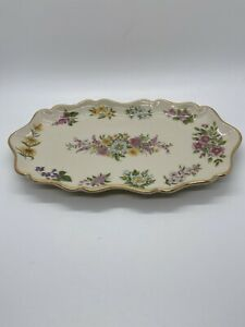 Lenox Constitution Candy Dish Limited Edition 1996 Flowers 14K Gold Trimmed