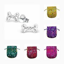 Childrens Girls 925 Sterling Silver Bone Crystal Stud Earrings, + Pouch