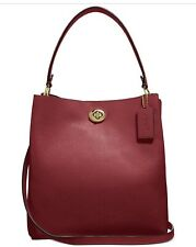 COACH 55200 Polished Pebble Leather Charlie Bucket Crossbody, Deep Red/Gold