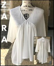 ZARA WOMEN (S) B/.W COLL IVORY V-NECKLINE BOHO BLOUSE SZ SML *REALLY CUTE*