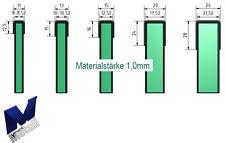 Einfassprofil U-Profil 1,0mm für Glasbrüstung ESG und VSG Glas 8 bis 21,52 mm.