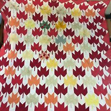 Vtg Hand Stitched Quilt Maple Leaf Piece Cutter Distressed Cotton 73.5x82""