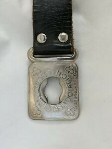 """Vintage Girl Guides Scouting Leather Belt 3 Part with plated fittings 31 1/2"""""""