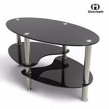 Clear/Black Glass Oval Side Coffee Table Shelf Chrome Base Living Room Furniture