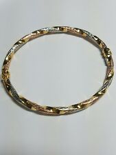 375 9ct Yellow, White & Rose Gold Twisted Bangle - Fully Hallmarked