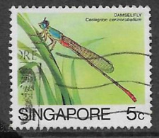 SINGAPORE POSTAL ISSUE - 1985 - USED DEFINITIVE STAMP - INSECTS - DAMSELFLY
