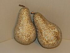 Set Lot of 2 - ANTIQUE, VINTAGE - Decorative Fruit - Golden Pear with Stem -NICE