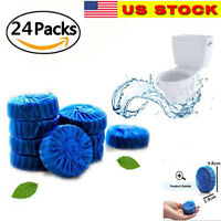 24 Automatic Bleach Toilet Bowl Cleaner Stain Remover Blue Tab-Tablet Flush Tank