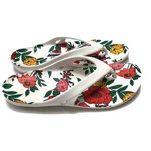 Crocs Kadee II Printed White Floral Flip Flop Women's 8 Summer Beach Wear NWT