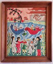 Tableau Gouache sur Bois Scène de vie animée Chinoise / Chine signé E. DUVERGER