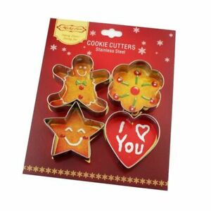 4pcs Cookie Cutters Mold Set Stainless Steel Gingerbread Heart Biscuit Cake Tool