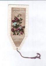 Antique Bookmark Purple Rose Flower Floral Georgian Birthday Card Poem RP Photo