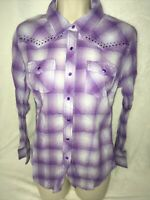 Cumberland Outfitters Shirt S Western Cowgirl Rodeo Plaid L/S Purple Rhinestone