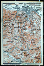 Umgebung von EISENACH, alter farbiger Landkarte, gedruckt 1896