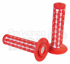 AME old school BMX Dual Duals bicycle grips - RED over WHITE *MADE IN USA* NEW
