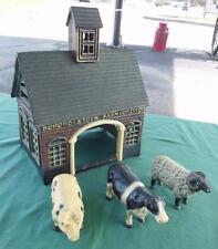 VTG CAST IRON STOCK FARM BARN W/ SHEEP COW & PIG STALL CATTLE ANIMALS  SET