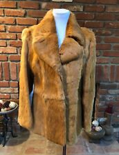 RARE Vintage 1990s Stunning Rabbit Fur Burnt Orange Lined Coat Jacket Fits M/L