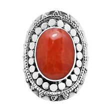 Large Southwestern Statement Oval Synthetic Coral Sterling Silver Ring-9